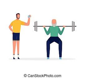 persönlich, trainer, wohnung, training, powerlifter, sport, isolated., vektor, abbildung