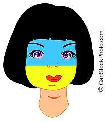 Person der Farbe der Flagge der Ukraine.