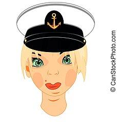 Person der Frauen im Dienst des Kapitäns des Seemannes.