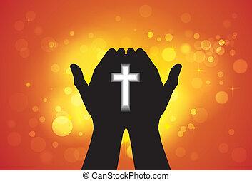 Person, die Gebete oder Gebete mit Kreuz in der Hand anbietet