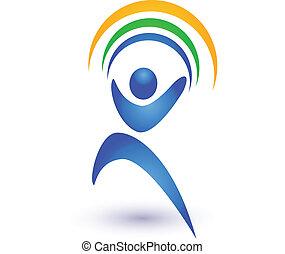 Person in Bewegung mit Regenbogenlogo