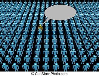 person, stimme, abbildung, crowd, eins