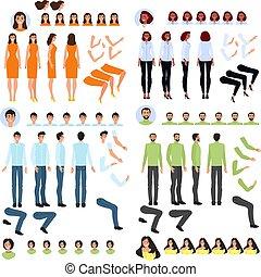 person, vektor, zeichen, satz, abbildung, schaffen, generator, karikatur, zubehörteil, koerper