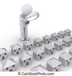 Personen, die Häuser untersuchen.