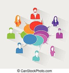 Personengruppen chatten soziale Netzwerk-Kommunikations-Icons.
