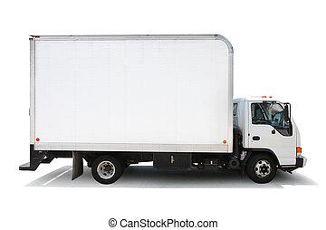 pfade, ausschnitt, freigestellt, auslieferung, hintergrund, lastwagen, included., weißes