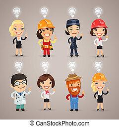 pfade, ausschnitt, satz, zusätzlich, gruppiert, charaktere, format., heads., beruf, idee, verschieden, jedes, ihr, oben, zeichen & schilder, included, element, eps, separately., datei