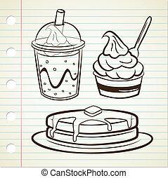 Pfannkuchen Joghurt und Softdrink.