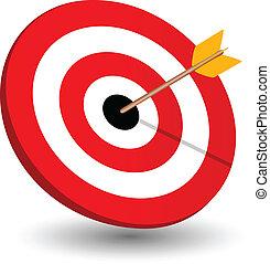 Pfeil rechts auf Ziel, Symbol des Gewinns.
