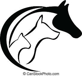 pferd, hund, katz