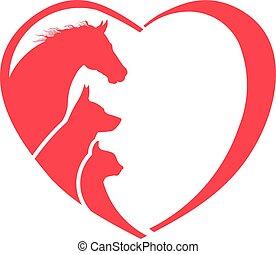 Pferd, Hund, Katzentier-Liebhaber-Logo.