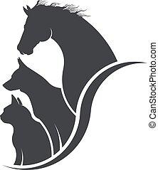 Pferd, Hund, Katzentierliebhaber Illustration.
