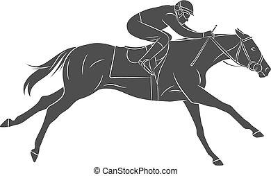pferd, jockey, silhouette, hintergrund, weißes, rennsport