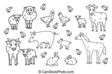 pferd, kanninchen, mutter, hintergrund, schafe, weißes, grobdarstellung, huhn, satz, kind, hase, schwarz, tiere, gekritzel, farm., freigestellt, groß, vektor, karikatur, klein, schwein, reizend, kuh, ram, ziege, stier, hahn, kälbchen