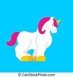 pferd, magisches, isolated., horn., mächtig, einhorn, starke