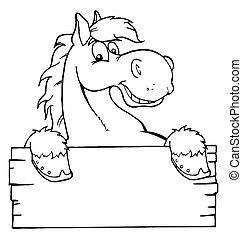 Pferd mit einem leeren Zeichen