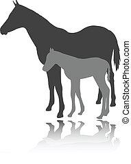 Pferd mit Fohlen - Vektor