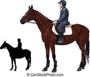 Pferd mit Lady Jockey