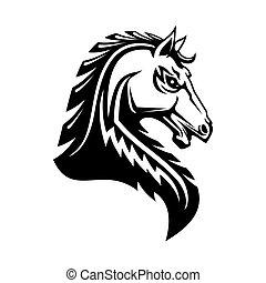 pferd, ritterwappen, kopf, freigestellt, wappen, emblem