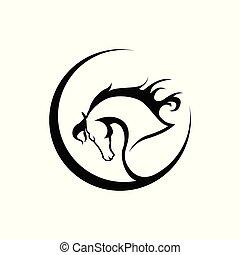 pferd, silhouette, kopf