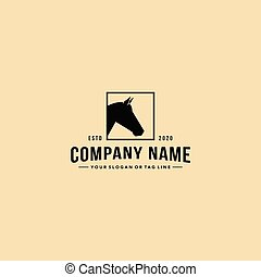 pferd, stil, logo, design, vektor, kopf, weinlese