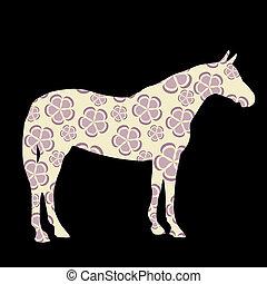pferd, vektor, silhouetten, abbildung