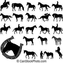 Pferde Silhouettensammlung.