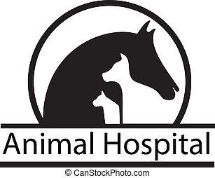 Pferdehund und Katzensilhouettes Logo.