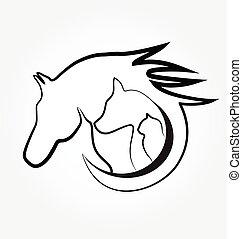 Pferdekatze und Hund.