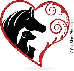 Pferdekatzen und Hunde, verwirbeltes Herz lieben Logo.