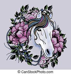 Pferdekopf mit Blumen