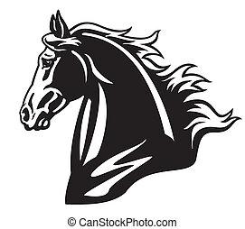 Pferdekopf schwarzweiß.