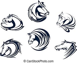Pferdemaskottchen und Embleme.