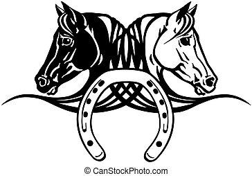 pferden, köpfe, schuh, schwarz, weißes