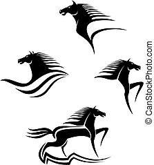 pferden, symbole, schwarz