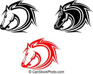 pferden, t�towierung