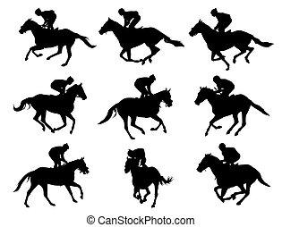 Pferderennen und Jockeys