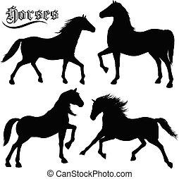 Pferdesilhouetten bereit.