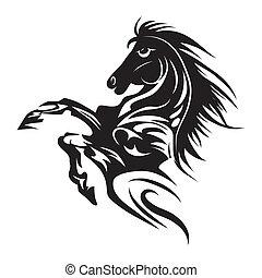 Pferdetätowierungsssymbol für Design isoliert auf weißem Emblem oder Logo-Technik.
