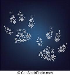 Pfoten haben eine Menge Schneeflocken gemacht.