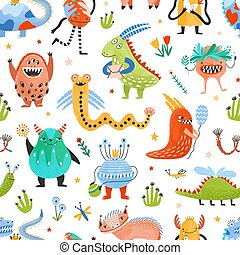 phantastisch, lustiges, stoffmuster, kindisch, seamless, hintergrund., seltsam, weißes, mutants, wohnung, verpackung, abbildung, bezaubern, karikatur, print., kreaturen, papier, märchen, magisch, vektor, monster