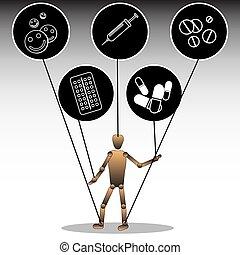 pharmaceuticals., preparations., heiligenbilder, medizin, abhängigkeit, abbildung, topic, vektor, marionette, gebunden, grafik