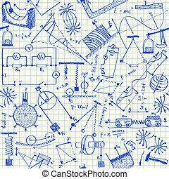 Physiker doodles nahmloser Muster