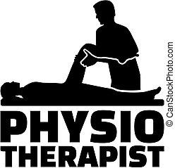 Physiotherapeutische Jobtitel mit Silhouette.