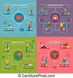 Physiotherapie Rehabilitation 2x2 Design Konzept.