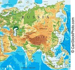 physisch, landkarte, asia