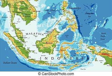 physisch, landkarte, indonesien