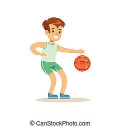 physisch, spielende , klasse, basketball, verschieden, junge, sport, üben, tätigkeiten, kind, bildung