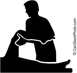Physische Therapeutin mit Patient.