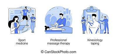 physische therapie, begriff, illustrations., vektor, abstrakt